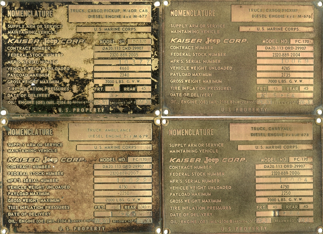 History General Information Willys Jeep Serial Number Location Recently Dan Horenberger Contacted A Gentleman From Poland Who Was Advertising Reproduction Data Plates For Models Including The Forward Control